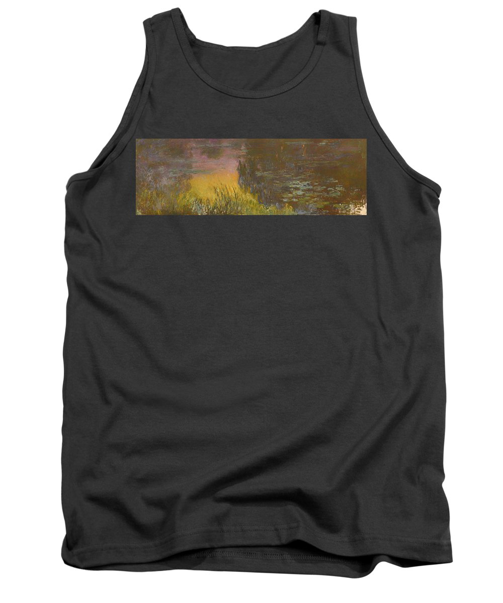 Painting Tank Top featuring the painting The Waterlilies At Setting Sun by Mountain Dreams