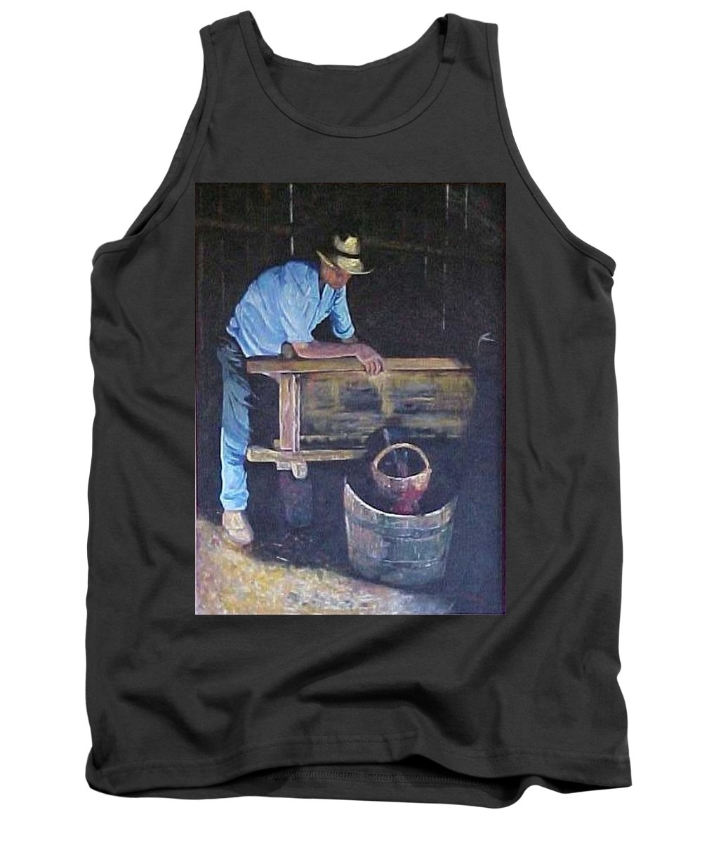 Wine Maker Tank Top featuring the painting The Winemaker by Bob Chesney