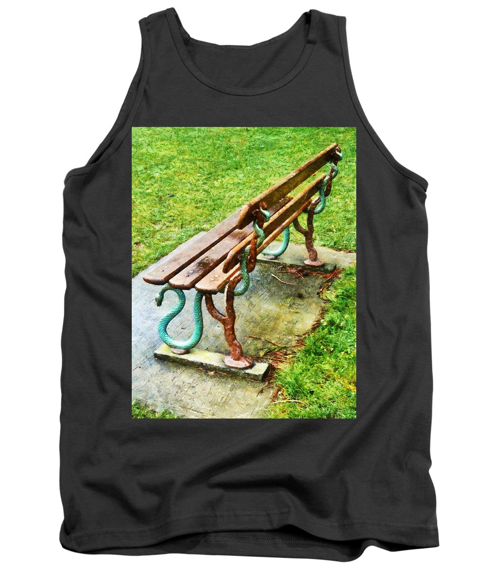 Bench Tank Top featuring the photograph These Are No Snakes In The Grass by Steve Taylor