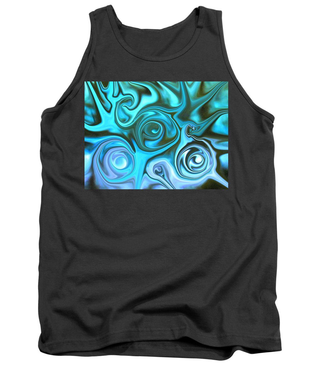 Photography Tank Top featuring the photograph Turquoise - Satin Swirls by Susan Carella