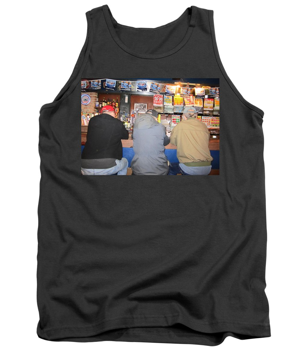 People Tank Top featuring the photograph Three Guys In A Bar by Kym Backland