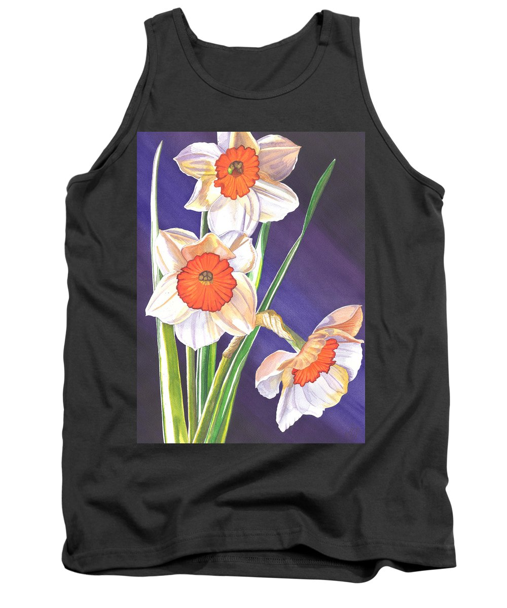 Daffodil Tank Top featuring the painting Three Jonquils by Catherine G McElroy