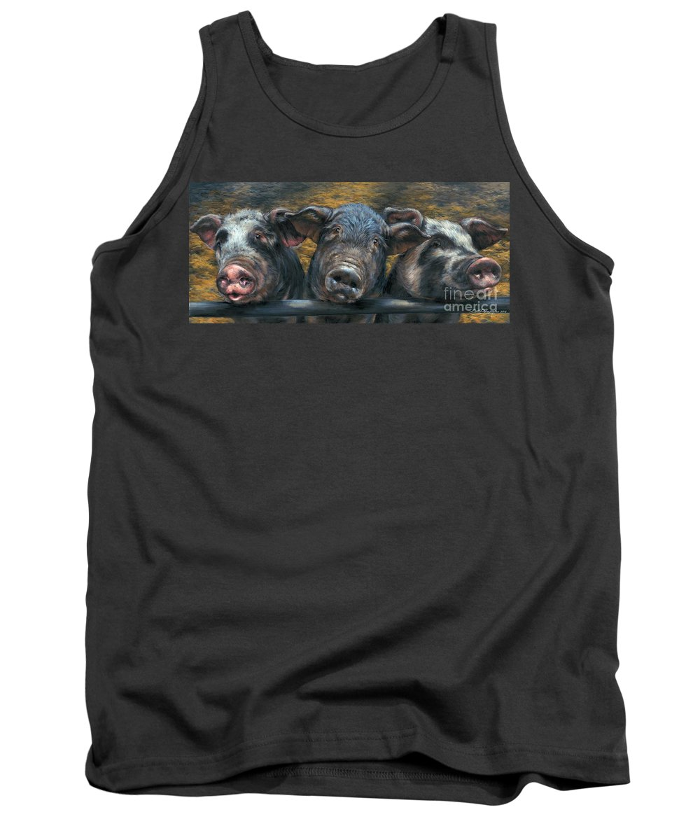 Pig Tank Top featuring the painting Three Little Piglets by Dina Perejogina