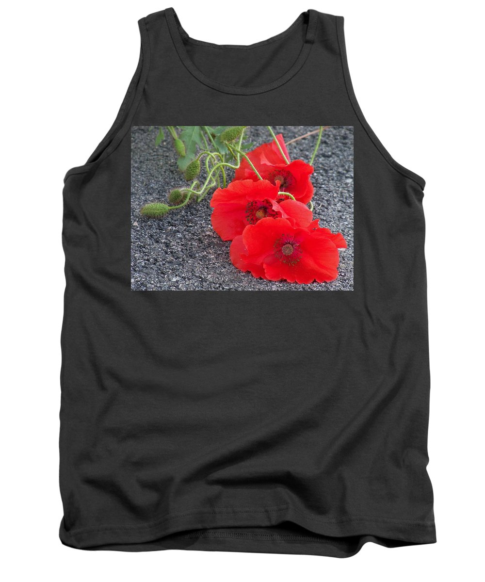 Lynne Miller Tank Top featuring the photograph Three Poppies Too by Lynne Miller