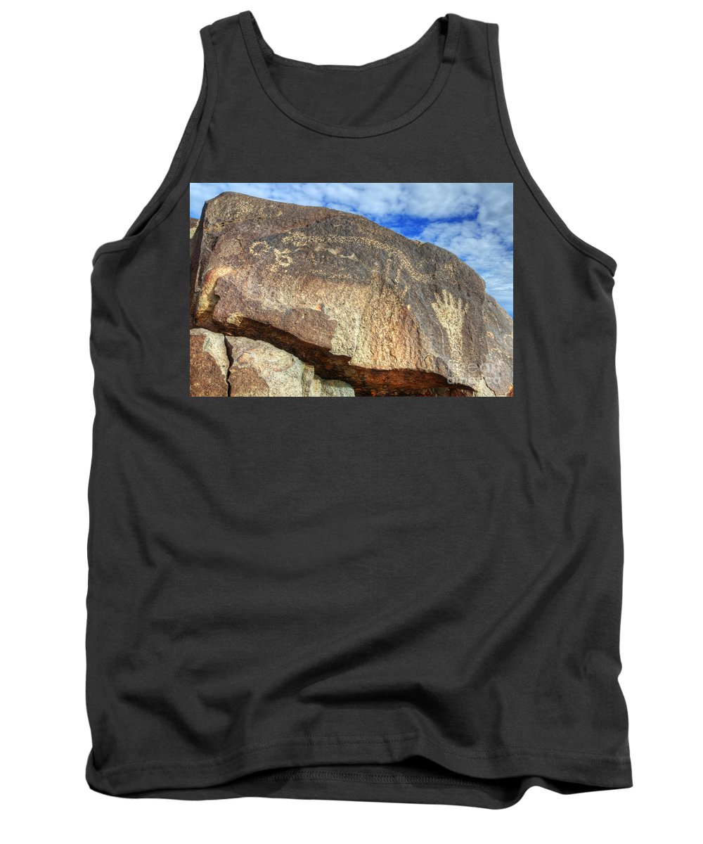 Three Rivers Tank Top featuring the photograph Three Rivers Petroglyphs 6 by Bob Christopher