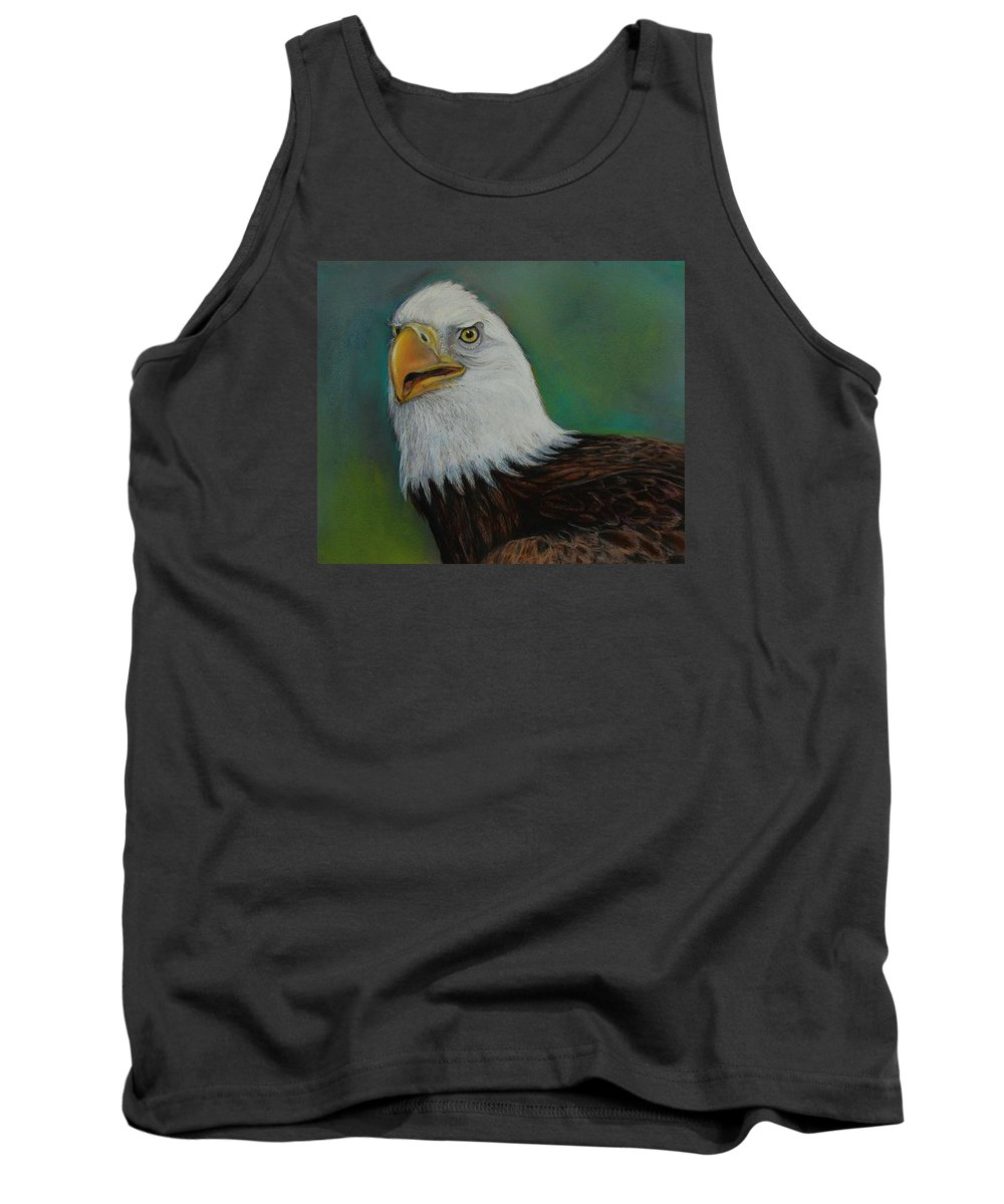 Bald Eagle Tank Top featuring the drawing Thunder by Jean Cormier