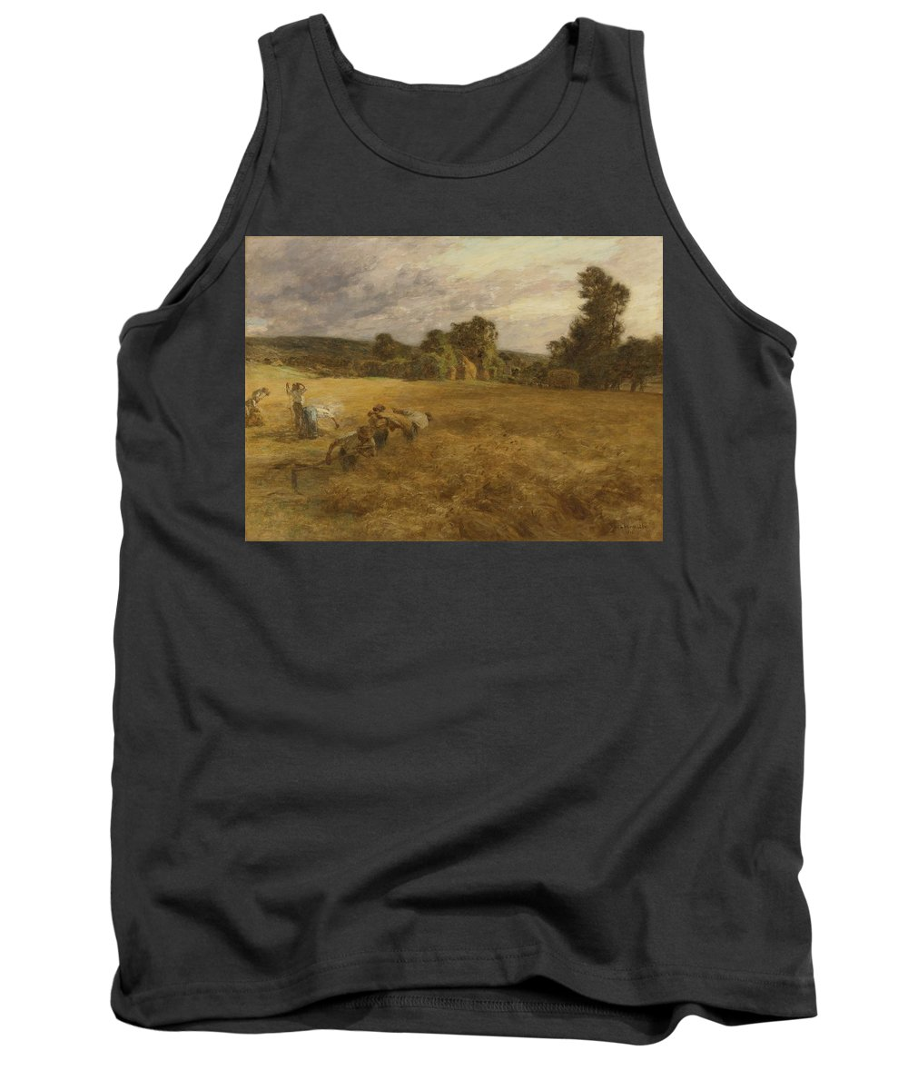 Leon-augustin Lhermitte 1844 - 1925 French Tank Top featuring the painting Thunderstorm In The Harvest by Celestial Images