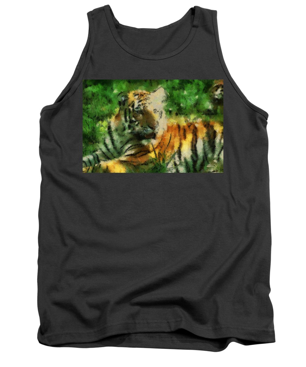 Feline Tank Top featuring the photograph Tiger Resting Photo Art 03 by Thomas Woolworth
