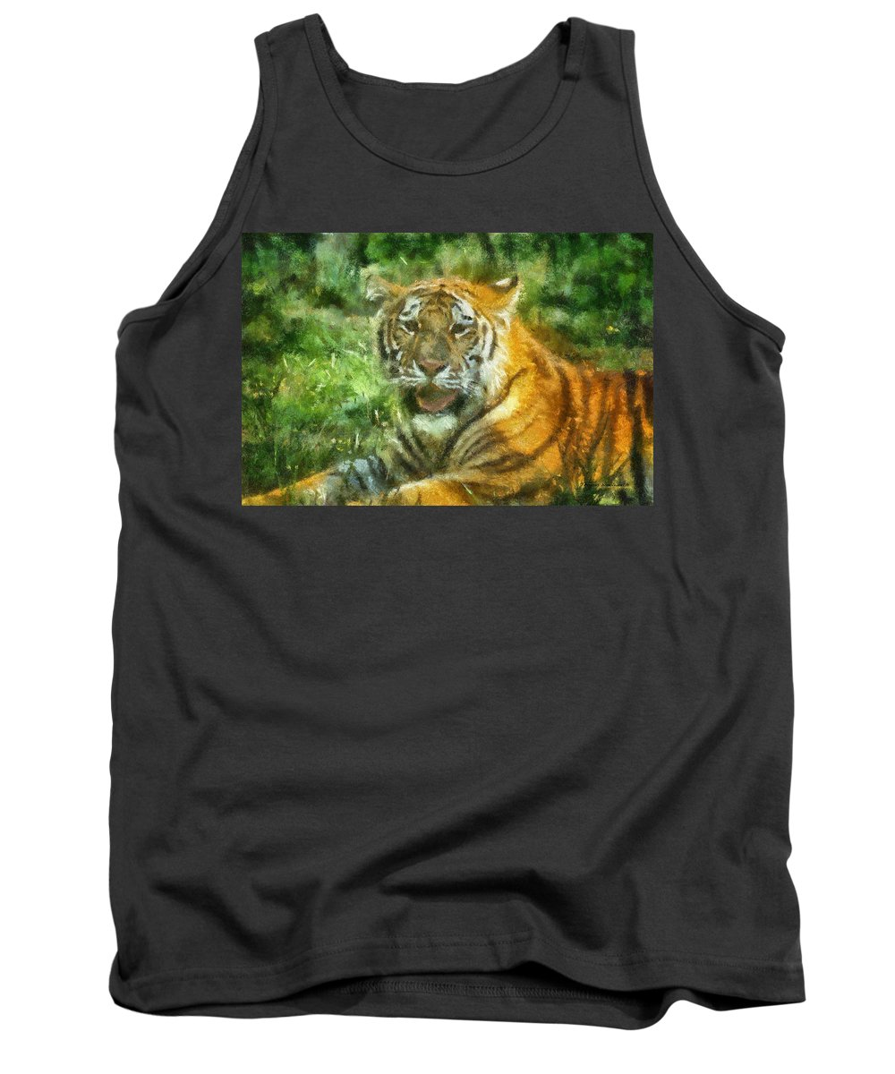 Feline Tank Top featuring the photograph Tiger Resting Photo Art 05 by Thomas Woolworth