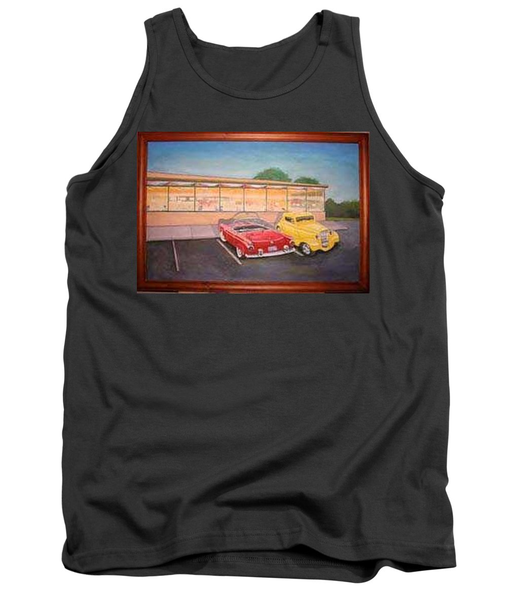 Rick Huotari Tank Top featuring the painting Times Past Diner by Rick Huotari