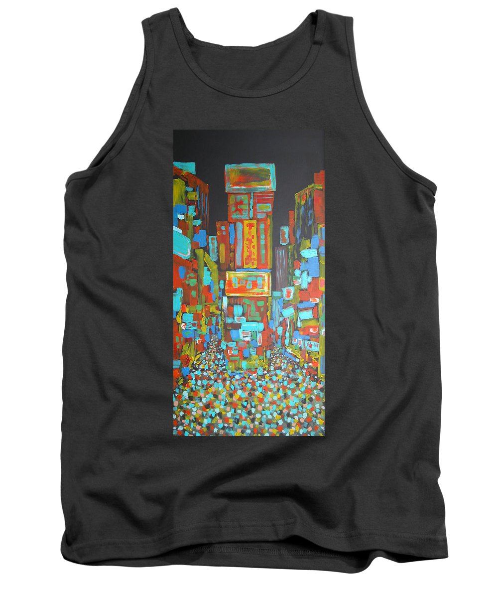 Times Square Tank Top featuring the painting Times Square by Rhodes Rumsey