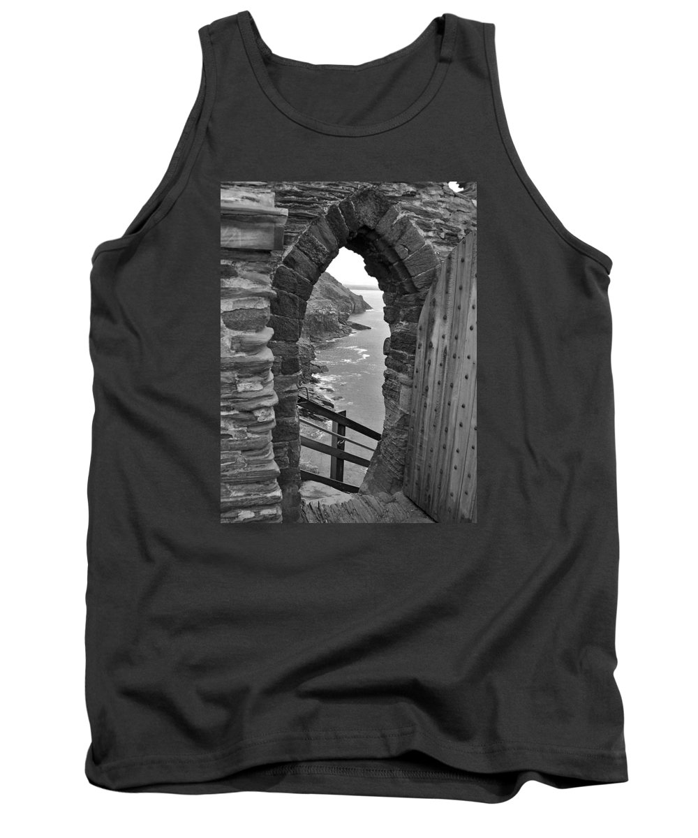 Black And White Tank Top featuring the photograph Tintagel Portal 1 by Denise Mazzocco