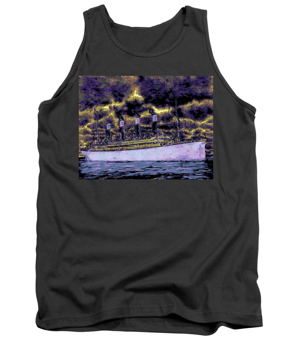Titanic Tank Top featuring the digital art Titanic Screams by John Madison
