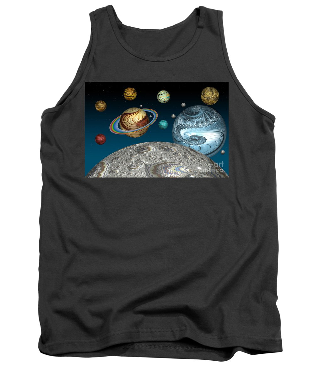 Solar System Tank Top featuring the digital art To The Moon And Beyond by Steve Purnell