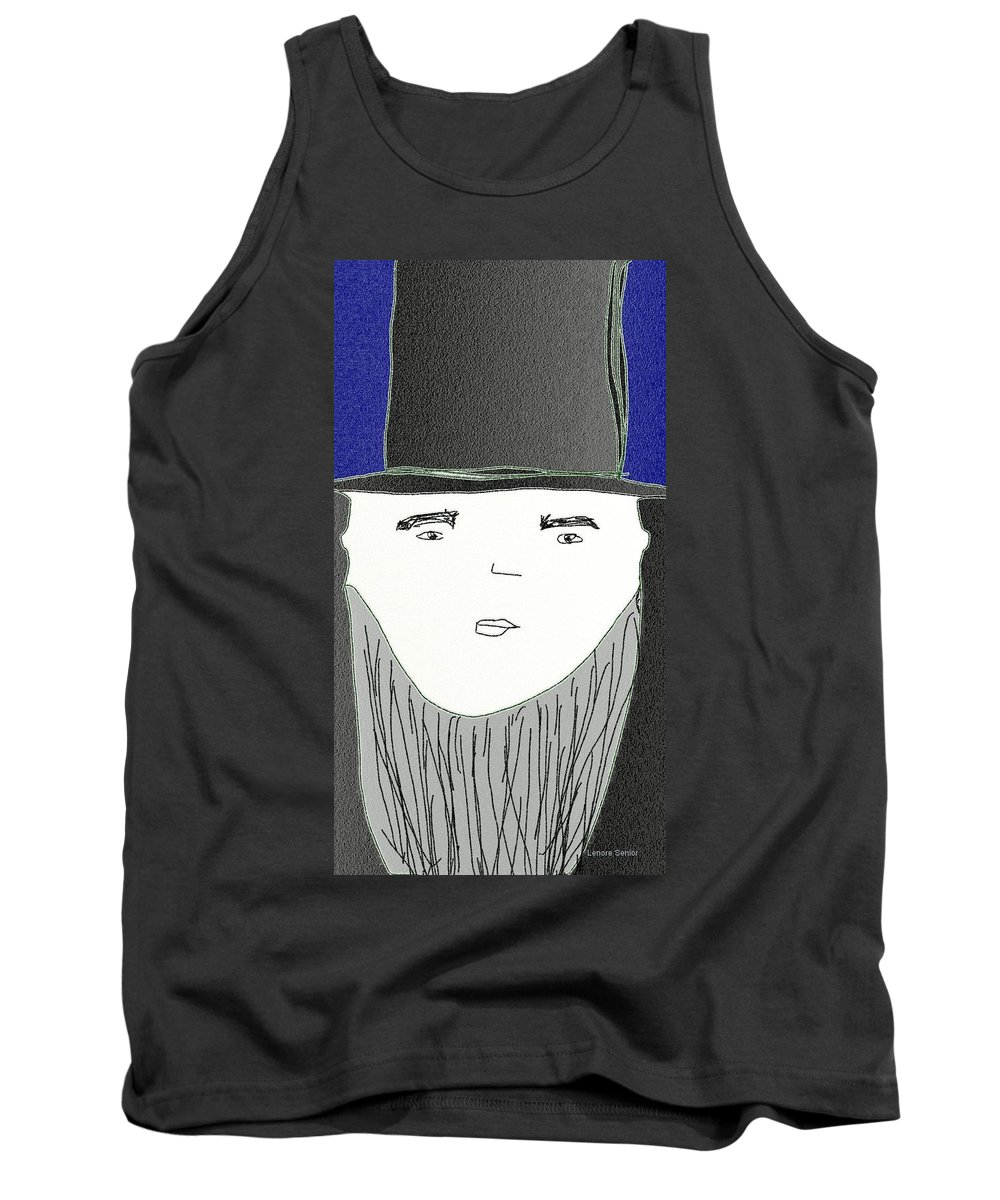 Humor Tank Top featuring the painting Top Hat And Beard by Lenore Senior