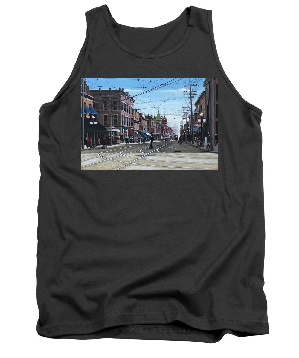 Streetscapes Tank Top featuring the painting Toronto Yonge And College 1916 by Kenneth M Kirsch