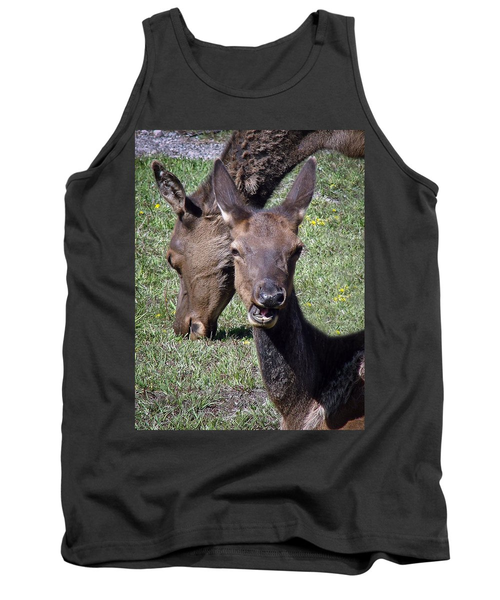 Elk Tank Top featuring the photograph Tourist Smile by Athena Mckinzie