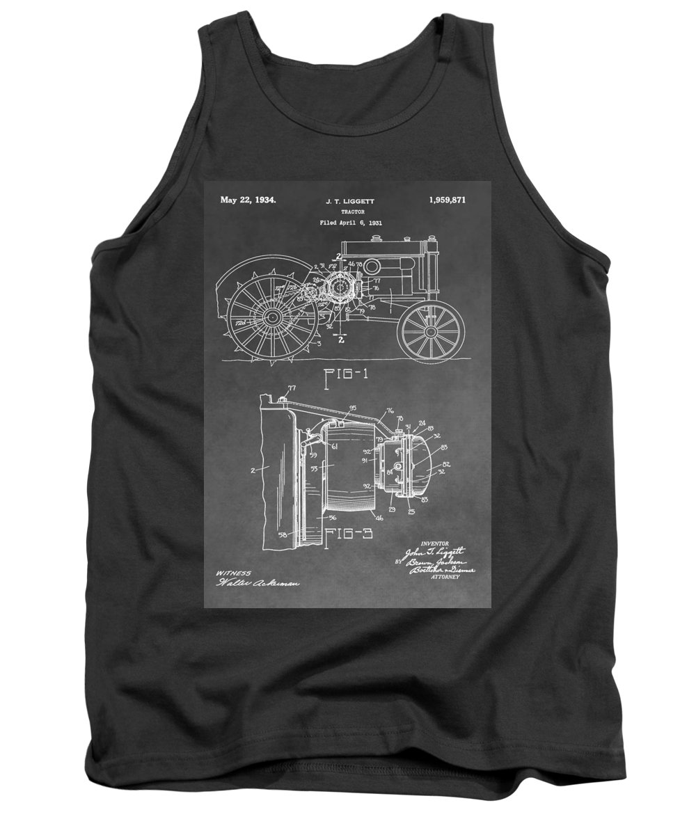 John Deere Tractor Patent Tank Top featuring the digital art Tractor Patent by Dan Sproul