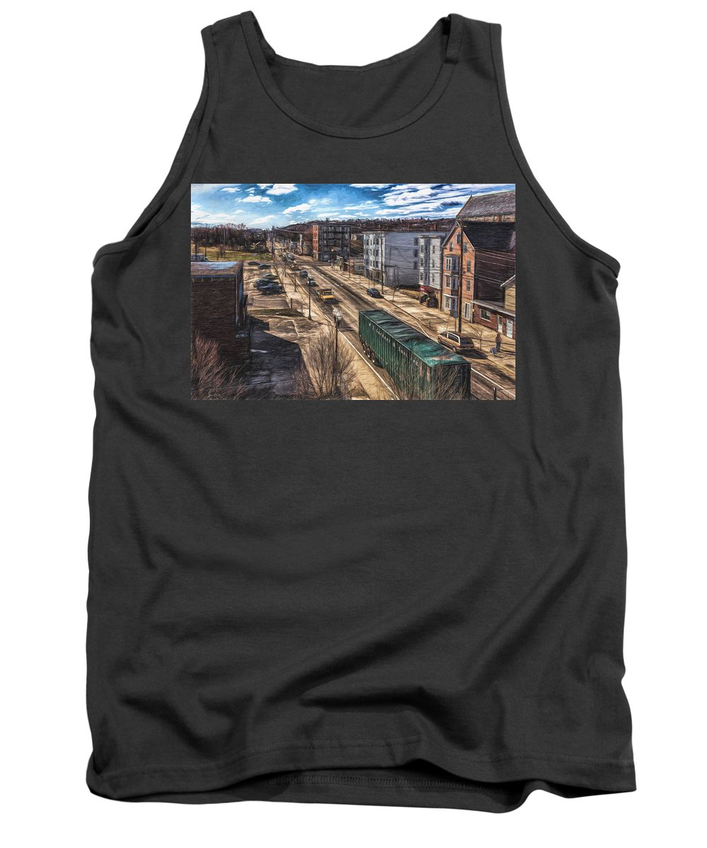 Landscape Tank Top featuring the painting Traffic On Lincoln Street by Bob Orsillo