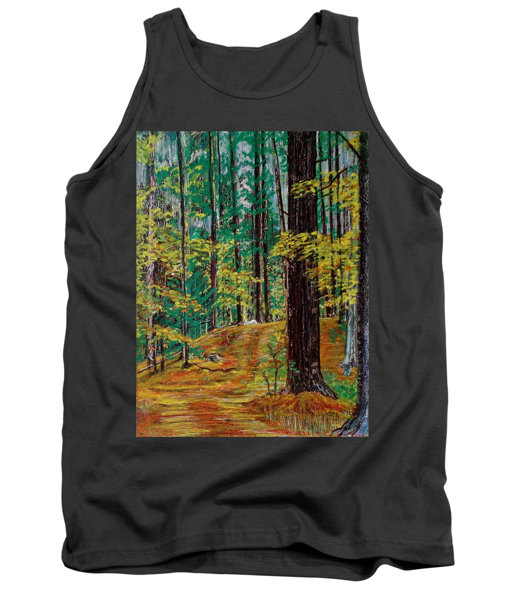 New Hampshire Tank Top featuring the pastel Trail At Wason Pond by Sean Connolly