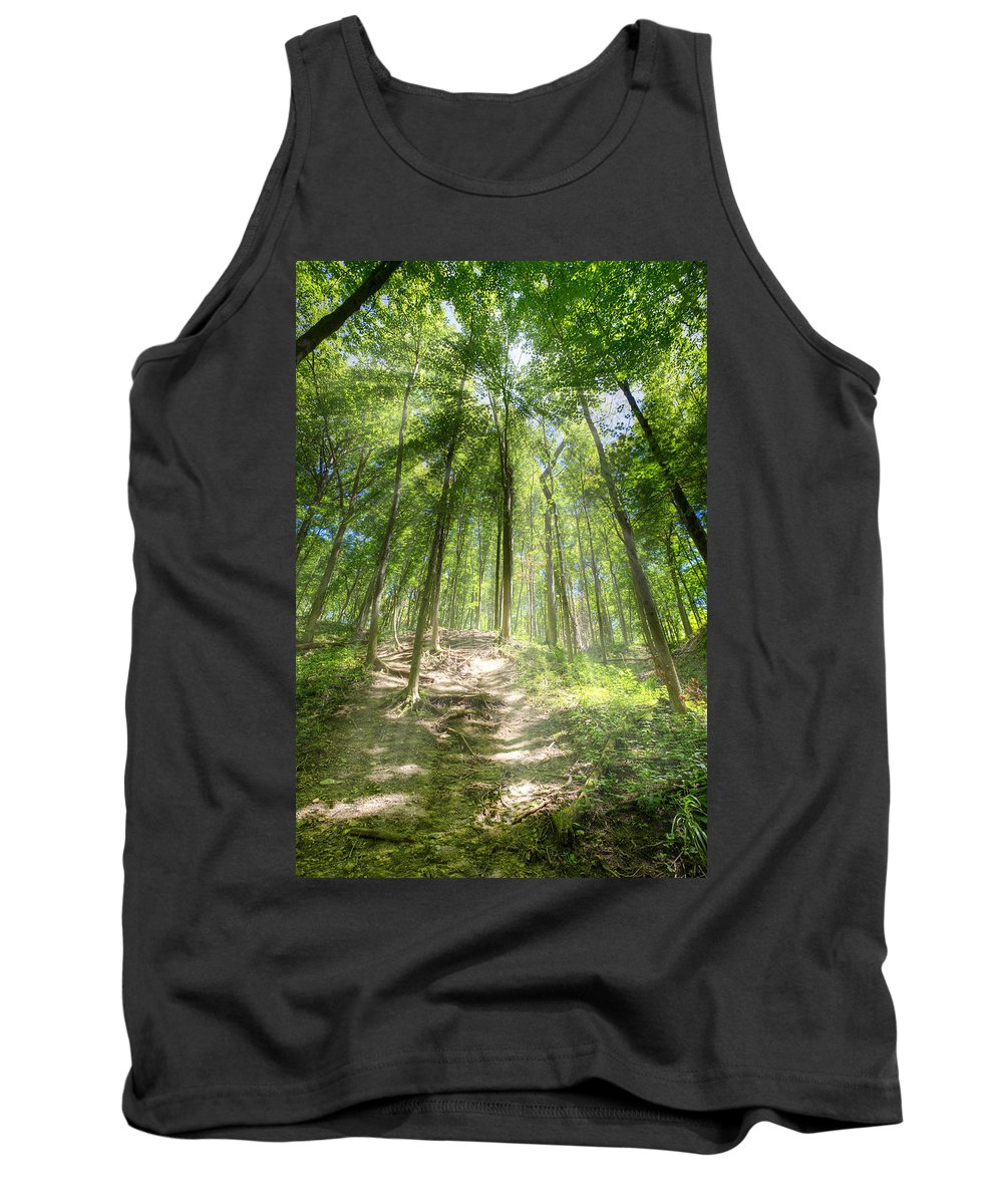 Forest Tank Top featuring the photograph Trail In The Forest by Alexey Stiop