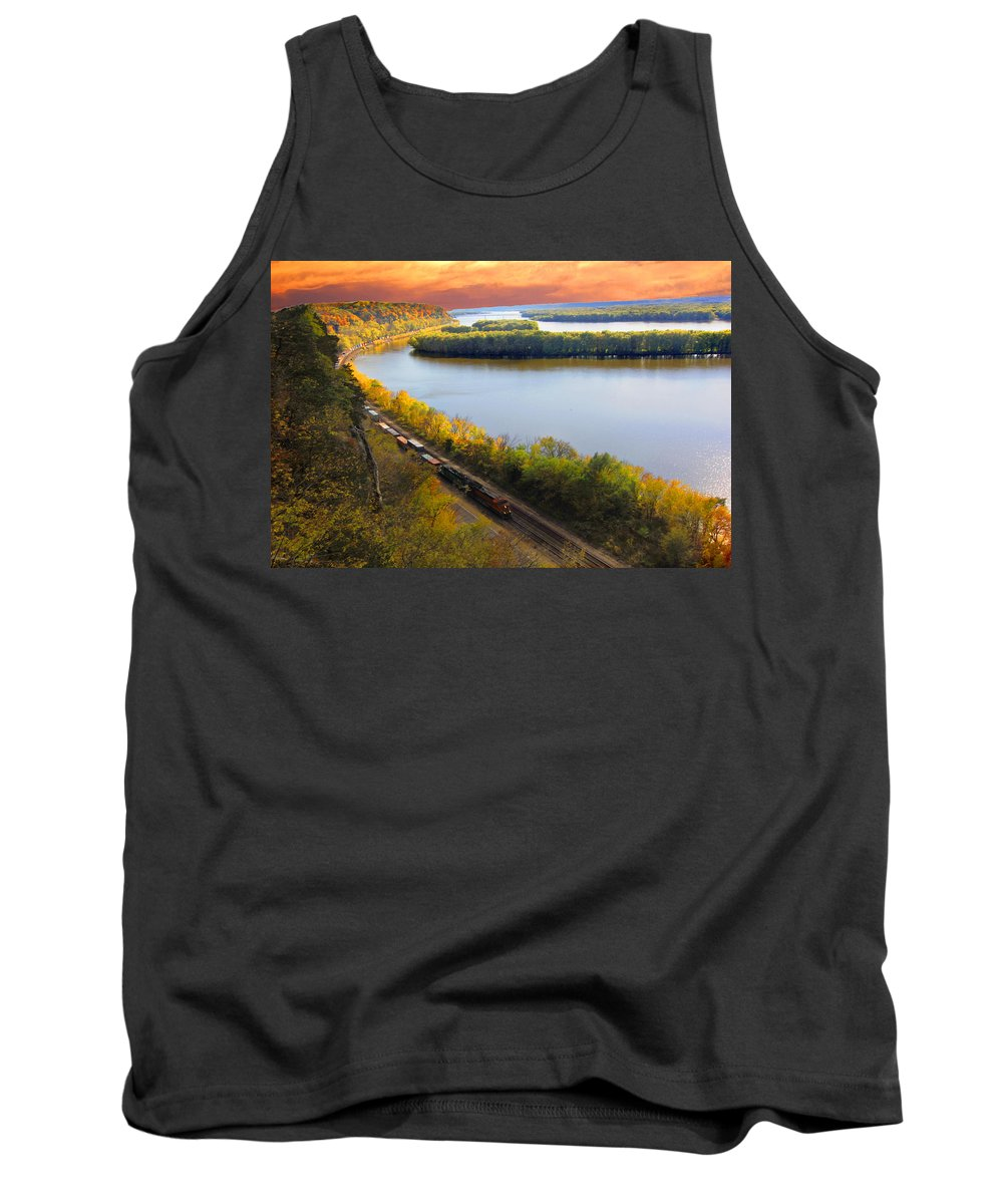 Train Tank Top featuring the photograph Train Mississippi River Sunset by Randall Branham