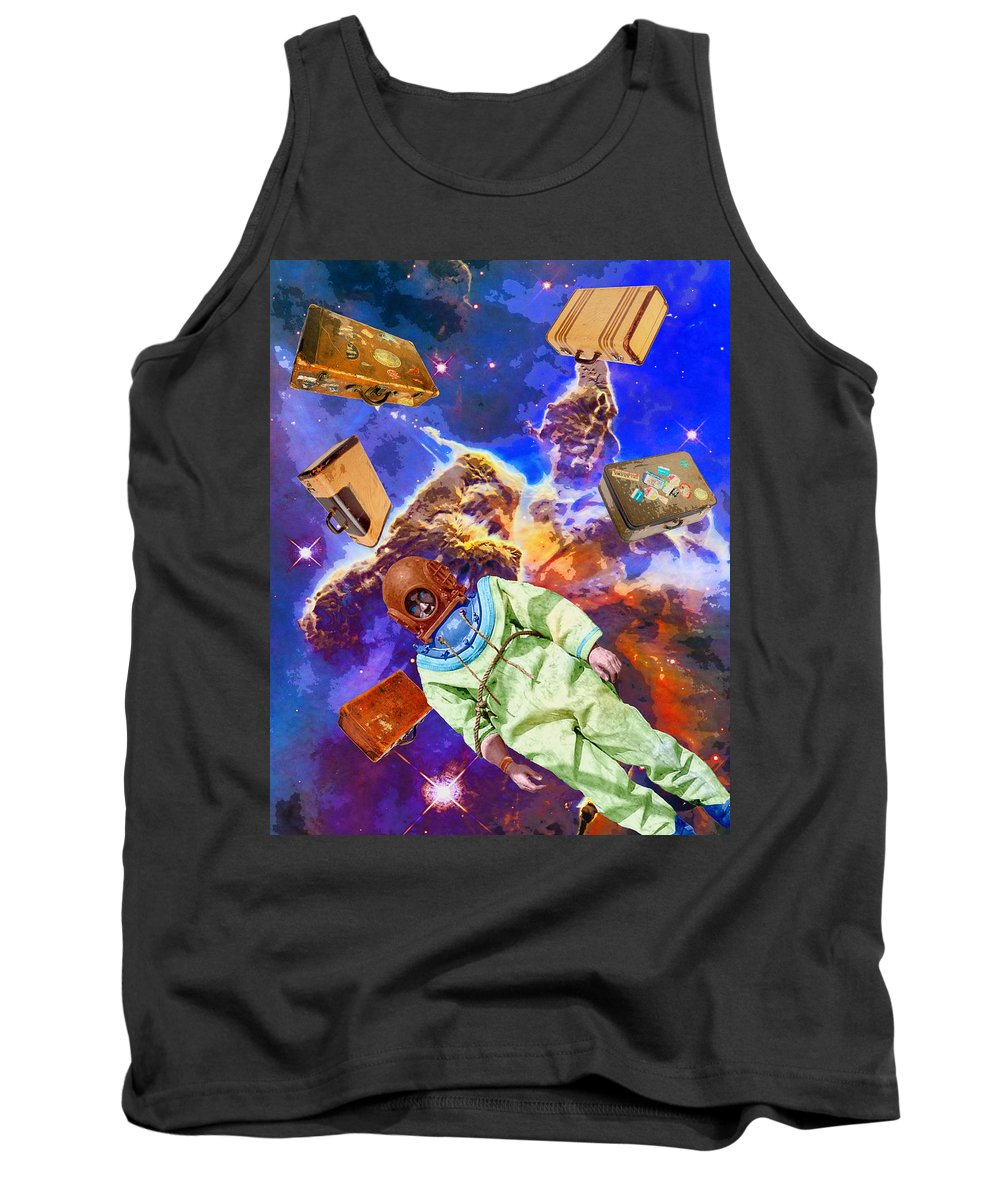 Diver Tank Top featuring the mixed media Traveling Light by Dominic Piperata