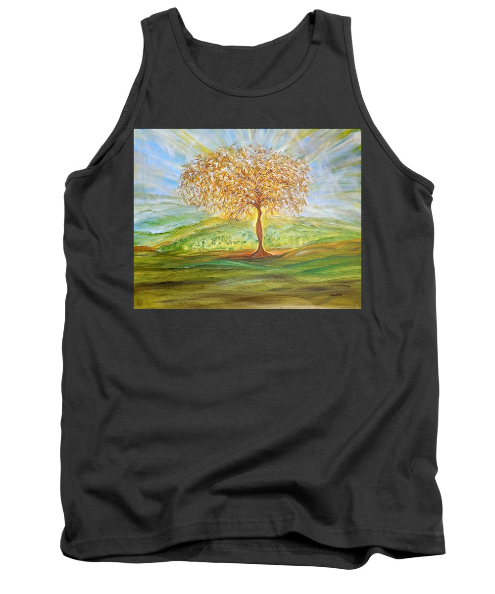 Whimsical Landscape Tank Top featuring the painting Treesa by Sara Credito