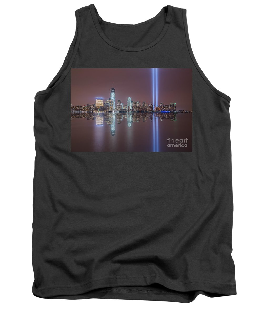 New York City Tank Top featuring the photograph Tribute In Light Reflections by Michael Ver Sprill