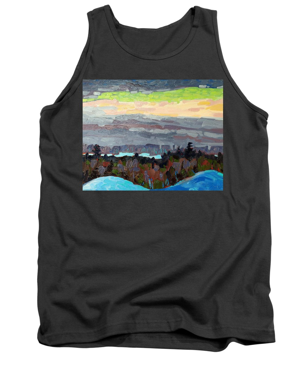 Sunset Tank Top featuring the painting Trilight by Phil Chadwick