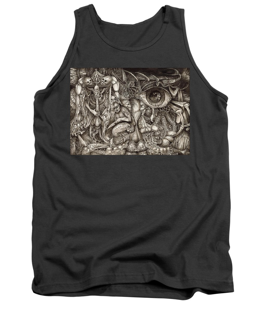 Surreal Tank Top featuring the drawing Tripping Through Bogomils Mind by Otto Rapp