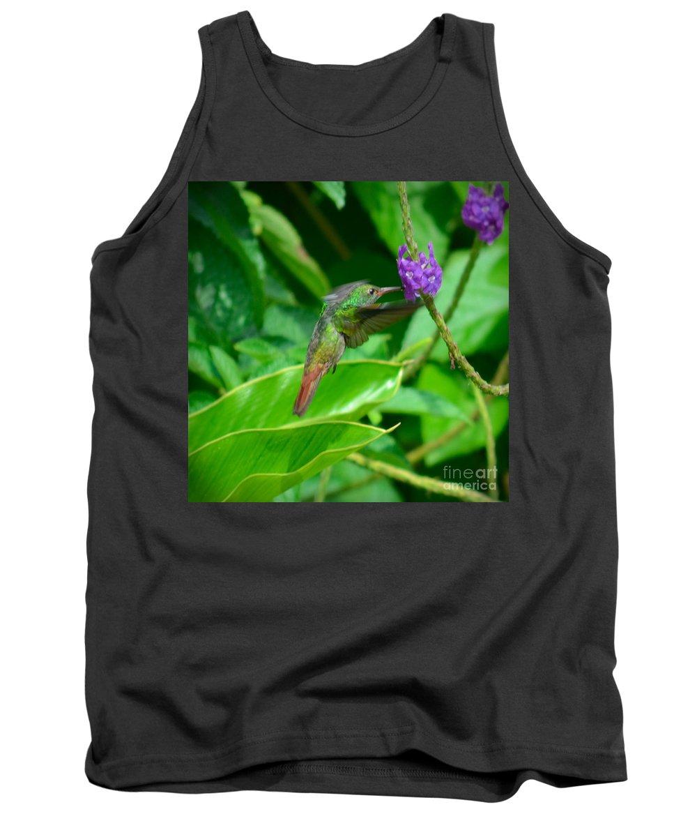 Green Tank Top featuring the photograph Tropical Hummingbird by Gary Keesler