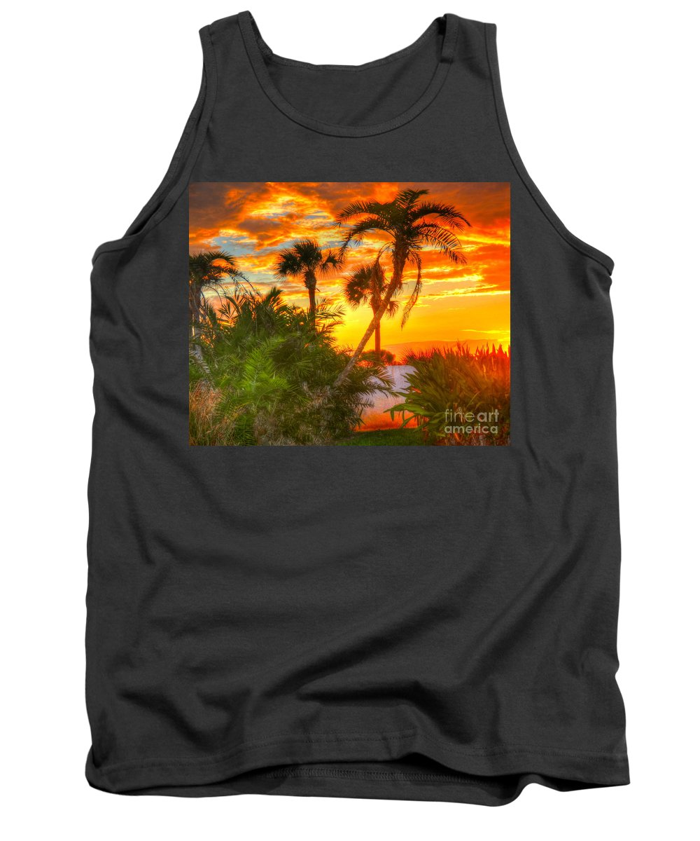 Palm Trees Tank Top featuring the photograph Tropical Sunset by Debbi Granruth