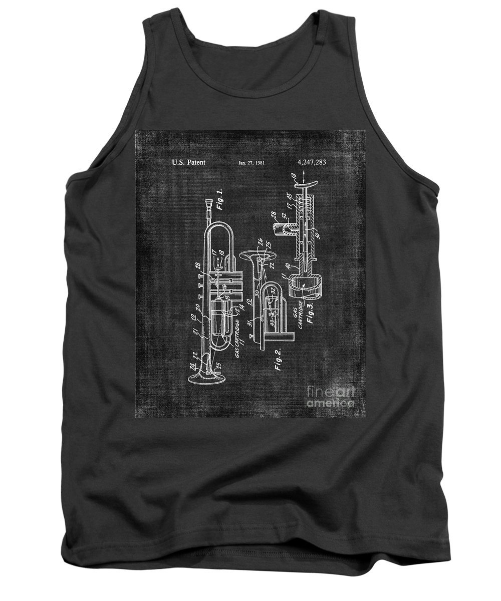 Trumpet Tank Top featuring the digital art Trumpet Patent by Voros Edit