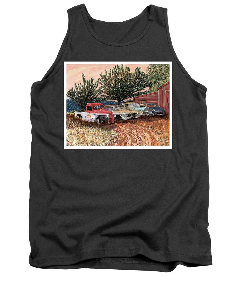 Classic Car Art Tank Top featuring the painting Tularosa Motors by Jack Pumphrey