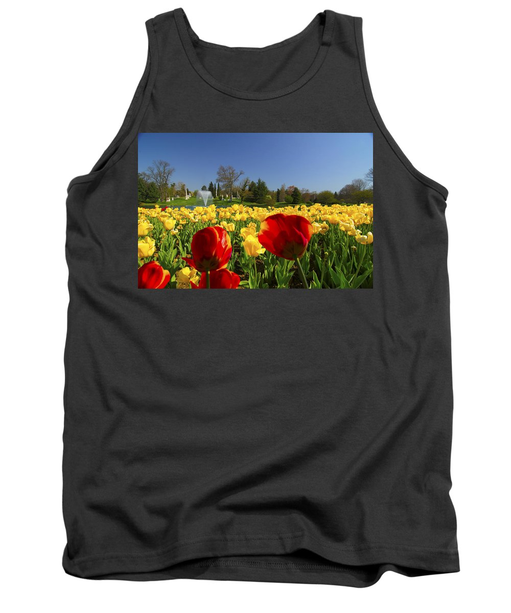 Fountain Tank Top featuring the photograph Tulips Galore by Randall Branham