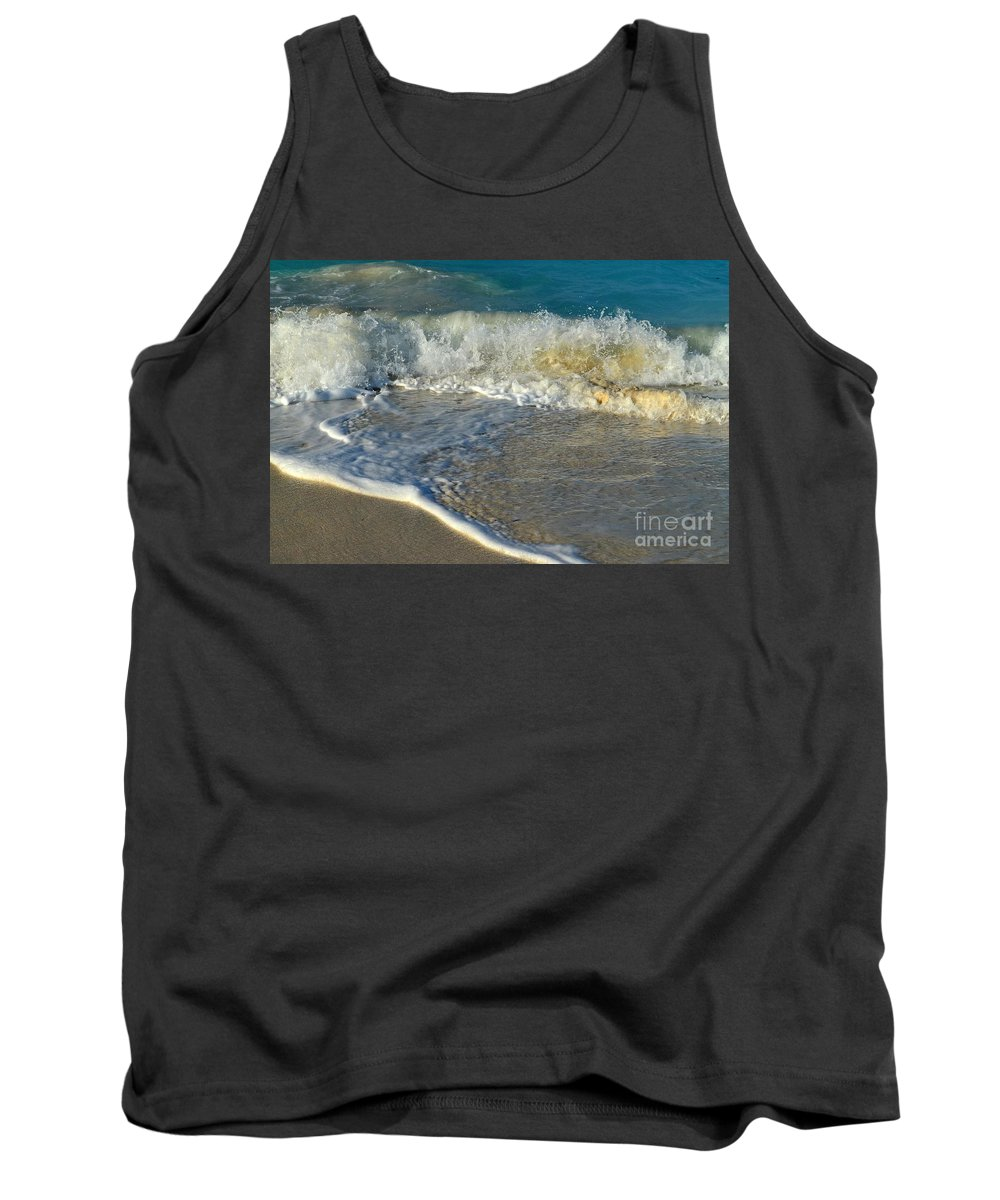 Turks And Caicos Tank Top featuring the photograph Turk Surf by Judy Wolinsky