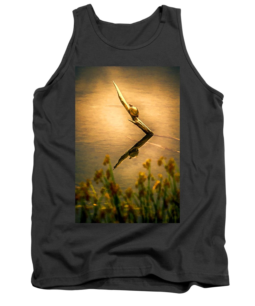Turtle Tank Top featuring the painting Turtle On Golden Pond by John Haldane