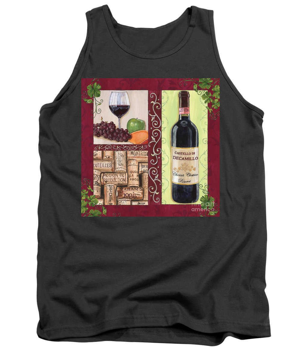 Wine Tank Top featuring the painting Tuscan Collage 2 by Debbie DeWitt