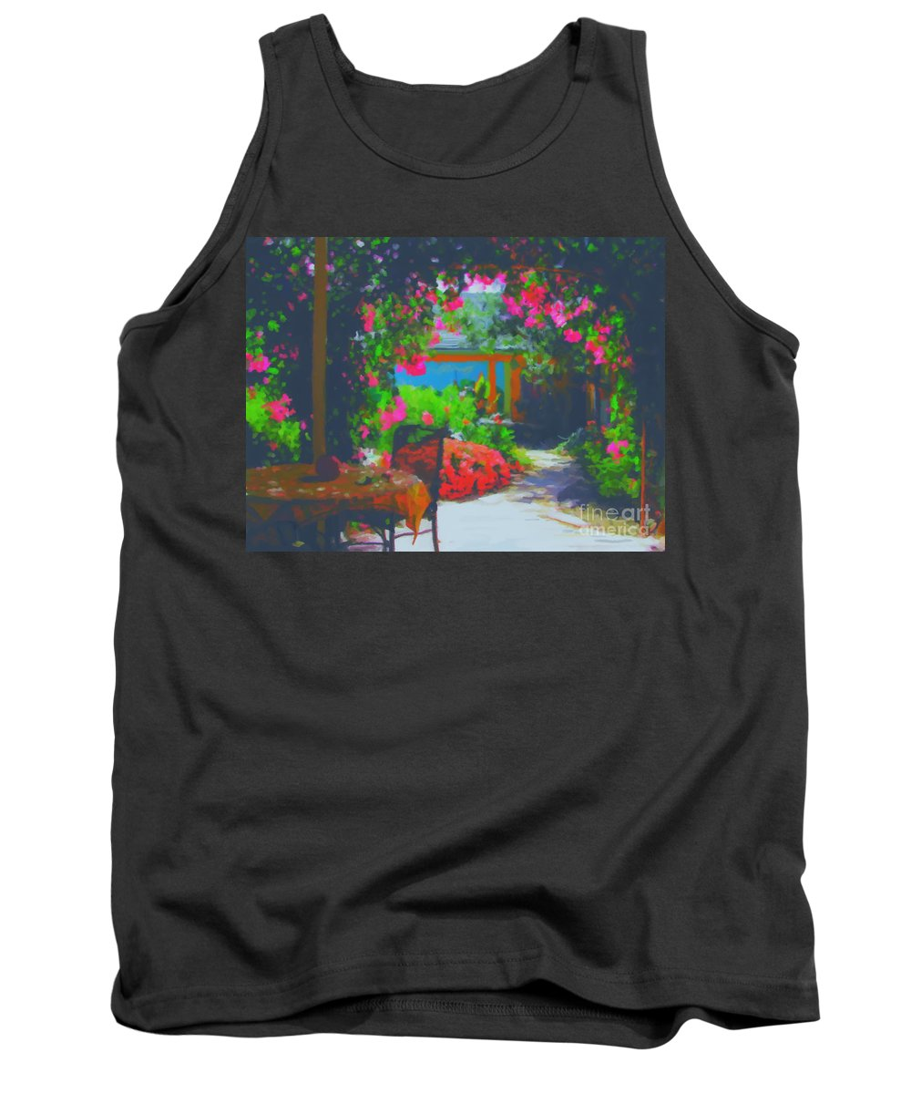 Tuscany Tank Top featuring the painting Tuscan Courtyard by Tim Gilliland