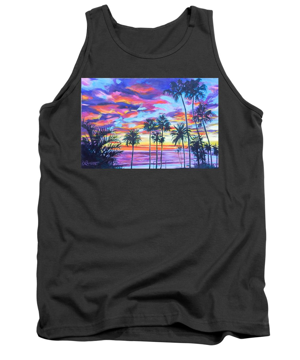 Sunset Tank Top featuring the painting Twilight Palms by Bonnie Lambert