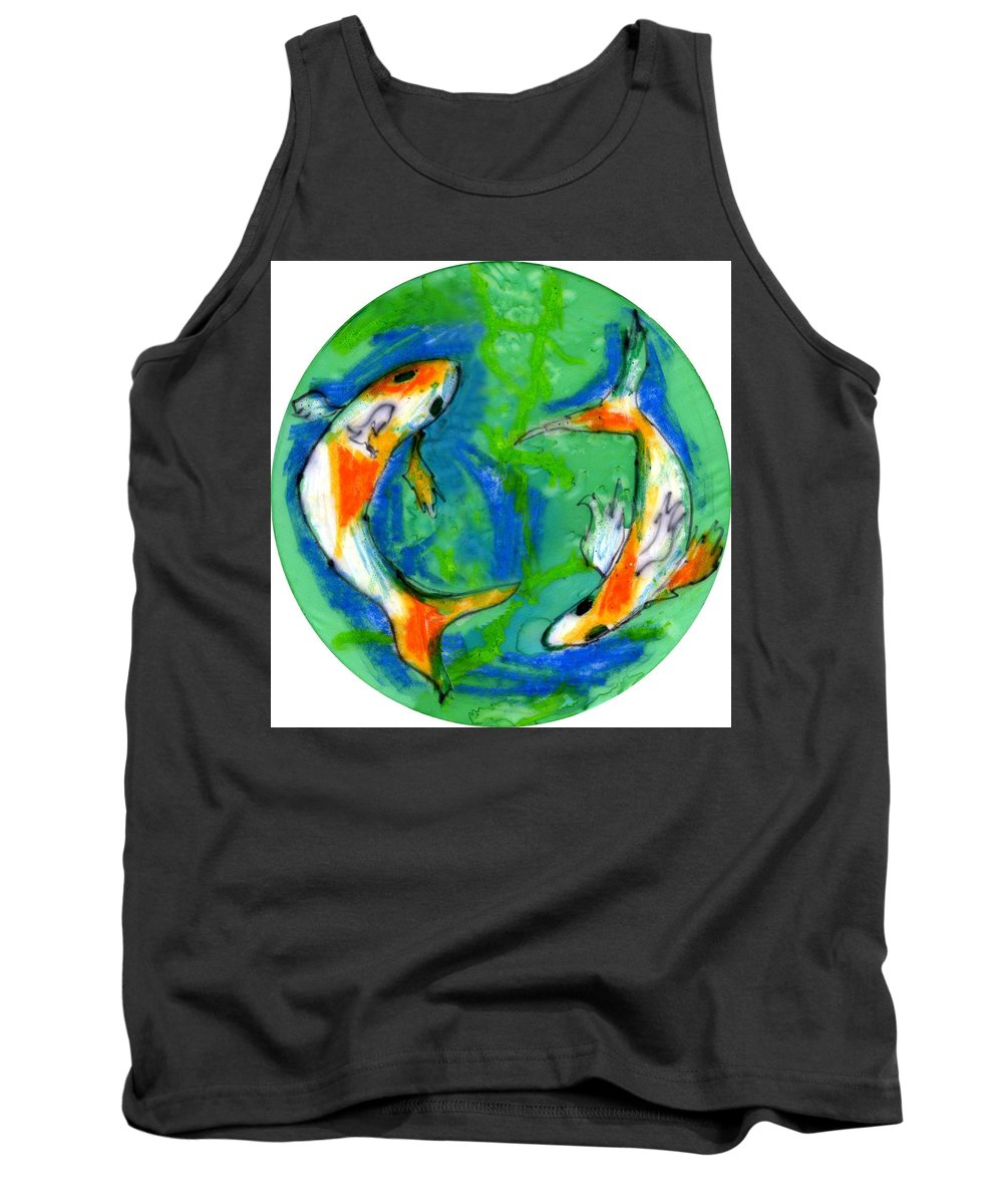 Koi Fish Tank Top featuring the painting Two Koi Fish by Genevieve Esson