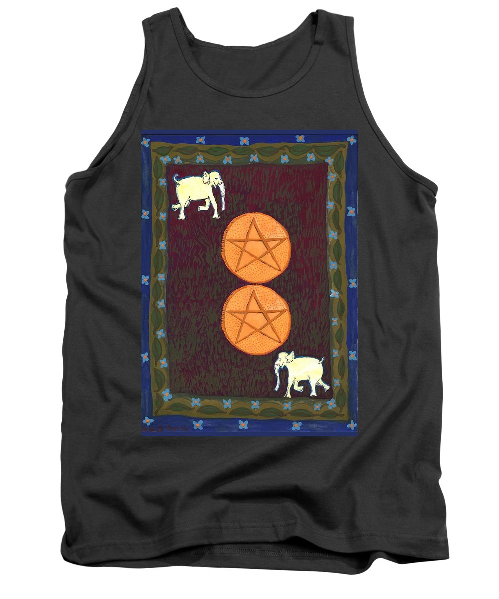Tarot Tank Top featuring the painting Two Of Pentacles by Sushila Burgess