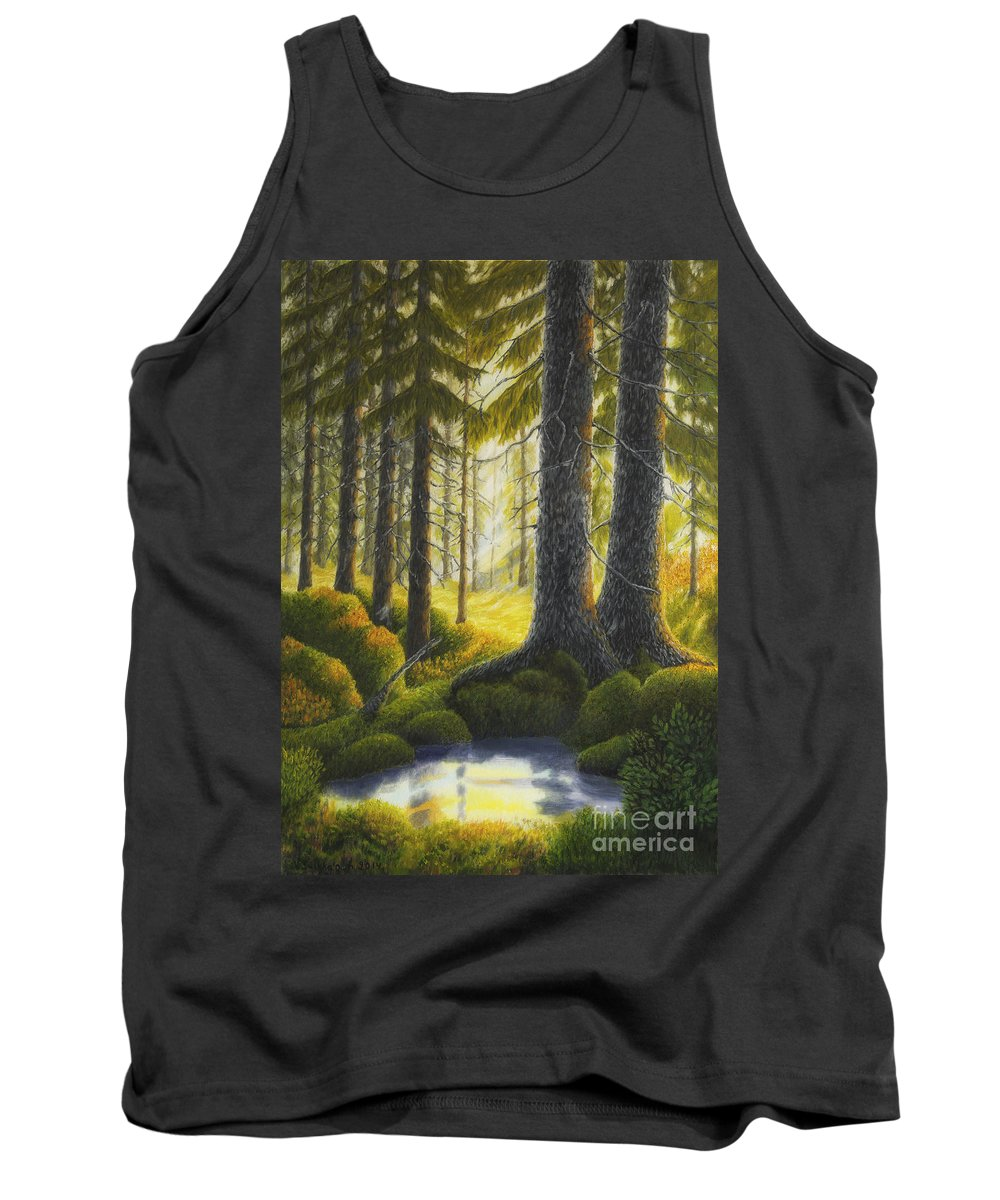 Art Tank Top featuring the painting Two Old Spruce by Veikko Suikkanen