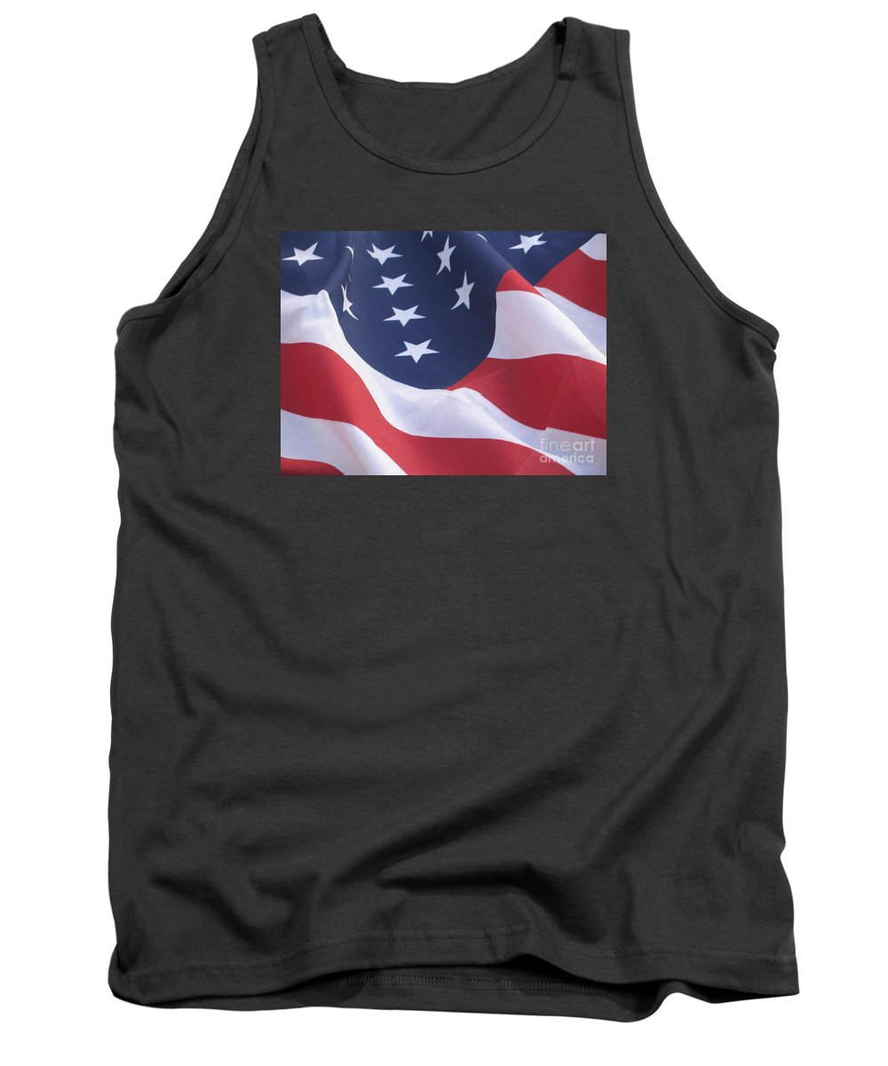 Photography Tank Top featuring the photograph United States Flag by Chrisann Ellis