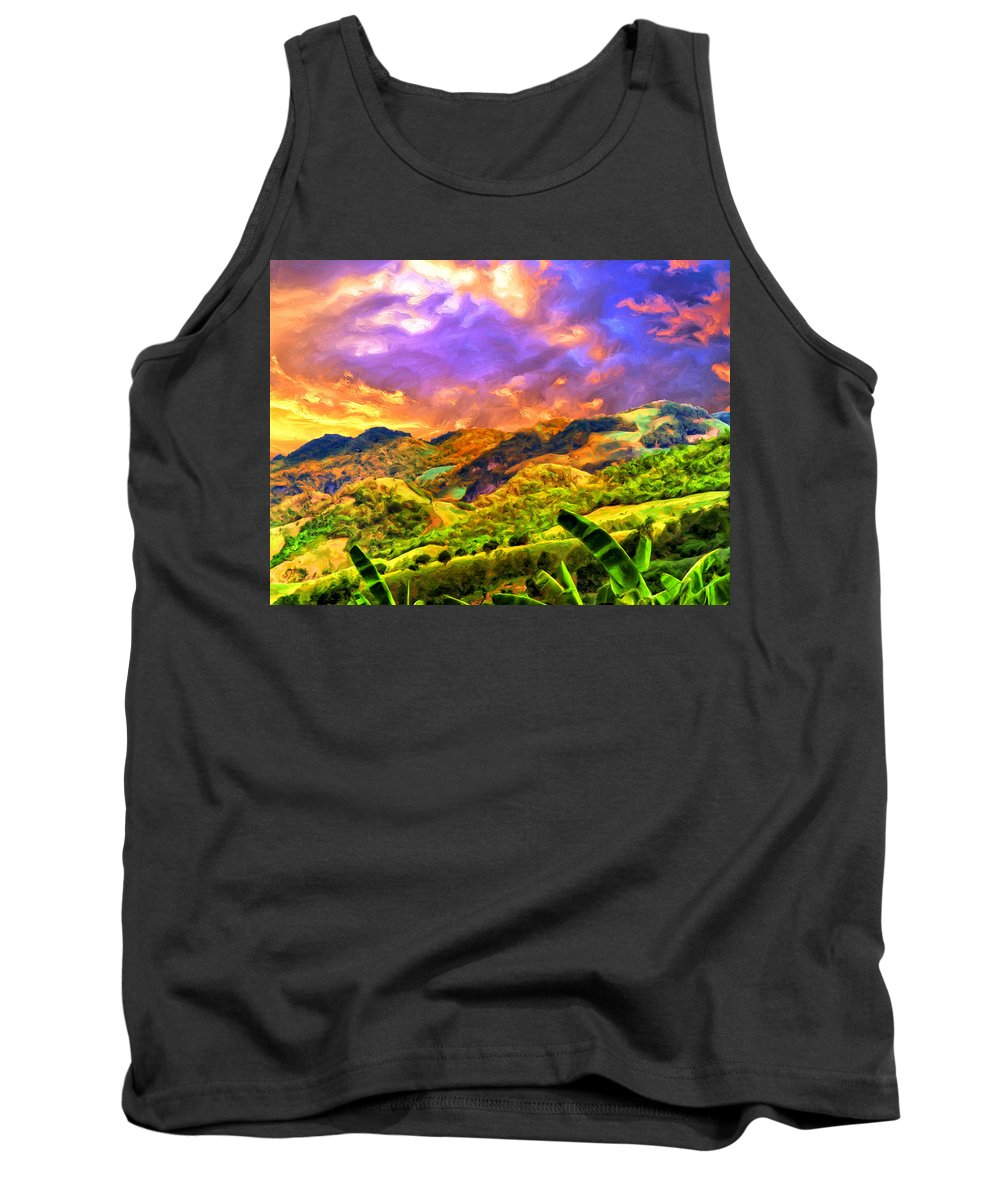 Upcountry Tank Top featuring the painting Upcountry Maui Sunset by Dominic Piperata