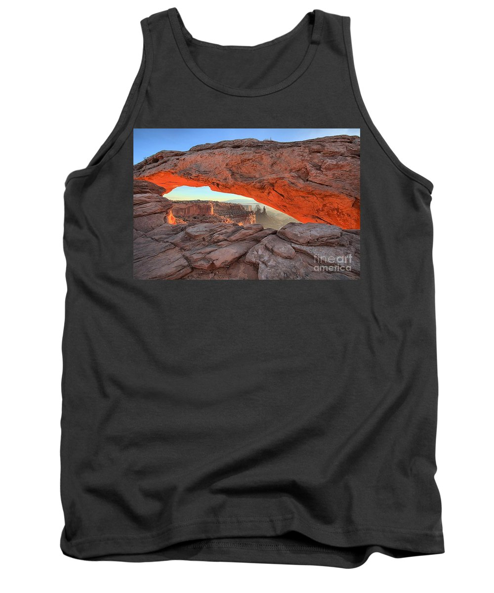 Mesa Arch Tank Top featuring the photograph Utah Morning Pastels by Adam Jewell