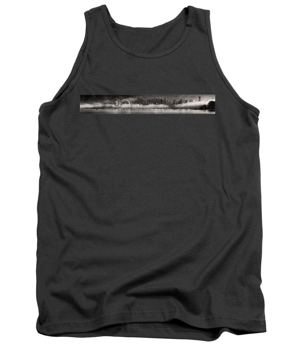 Kitsilano Morning Fog Tank Top featuring the photograph Vancouver Skyline With Fog Over English Bay by Peter v Quenter