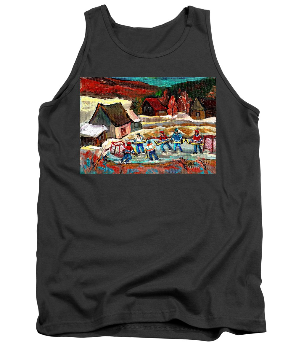 Vermont Tank Top featuring the painting Vermont Pond Hockey Scene by Carole Spandau