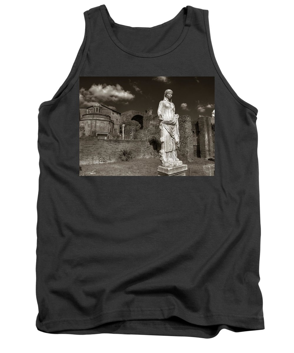 Rome Tank Top featuring the photograph Vestal Virgin Courtyard Statue by Michael Kirk